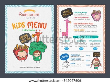 Cute Kids Menu Vector Template  Free Kids Menu Templates