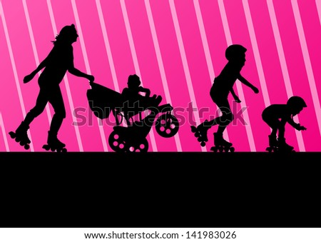 Cute kids, mother with cart in roller skates vector background family concept - stock vector