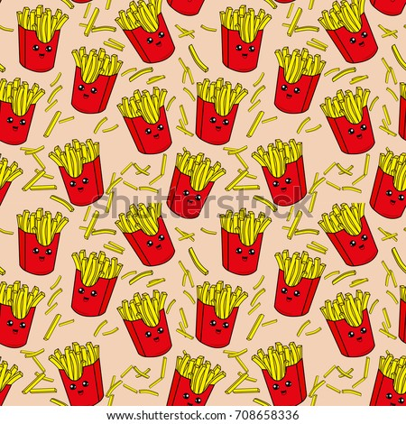 Cute kids pattern for girls and boys. Colorful french fries on the abstract grunge background create a fun cartoon drawing.The background is made in neon colors. Urban backdrop for textile and fabric.