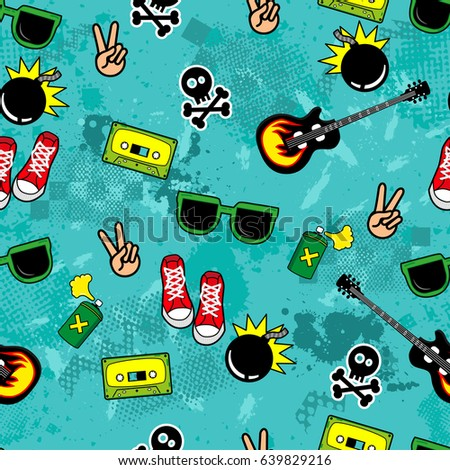Cute kids pattern for girls and boys.Colorful Youth Objects on the abstract grunge background create a fun cartoon drawing. The background is made in neon colors. Urban backdrop for textile and fabric