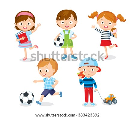 cute kids playing with toys, reading, playing football, eating ice cream - stock vector