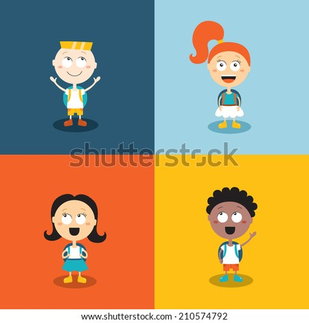 Cute kids ready go back to school. Cartoon characters set. Vector illustration - stock vector