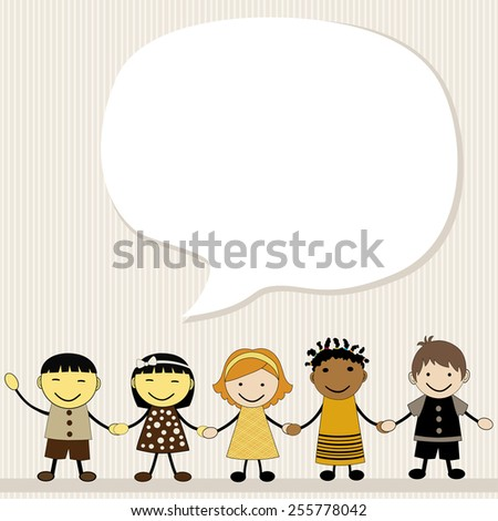 Cute kids with a large speech bubbles - stock vector