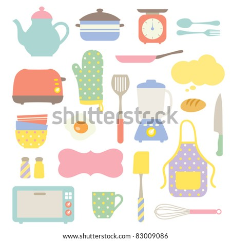Cute Kitchen Collection - stock vector