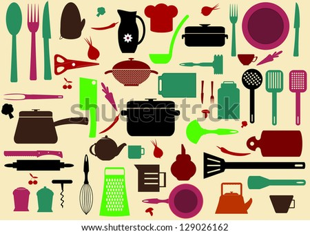 cute kitchen pattern. Illustration of kitchen tools for cooking - stock vector
