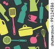 cute kitchen pattern. vector illustration - stock photo