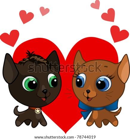Cute kitten and kitten vector illustration - stock vector
