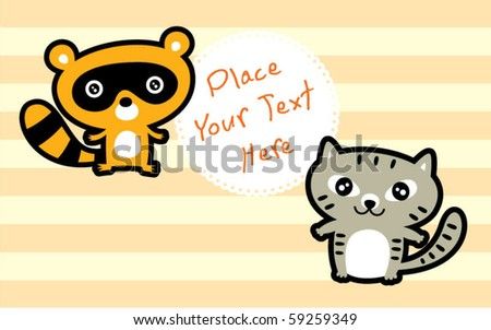 cute kitten and raccoon are friend - stock vector