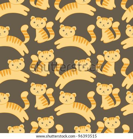 Cute kitten seamless pattern - stock vector