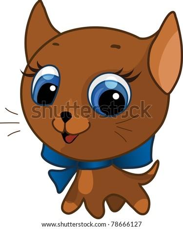 Cute kitten vector illustration - stock vector