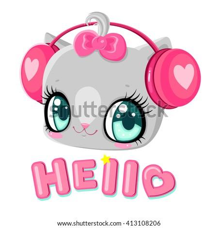 Cute kitten with headphones. Cat listening to music. I love music. Children's character. Inscription hello. - stock vector