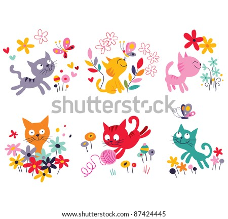 cute kittens set - stock vector