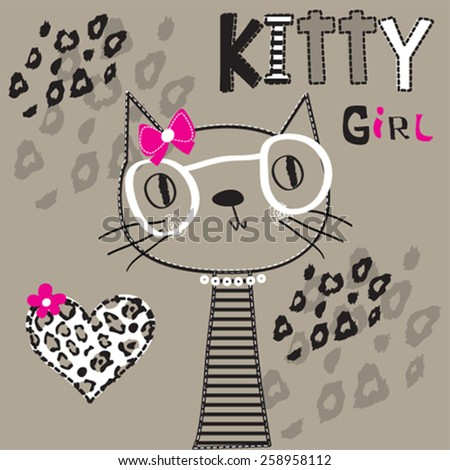 cute kitty girl with glasses, T-shirt design vector illustration - stock vector