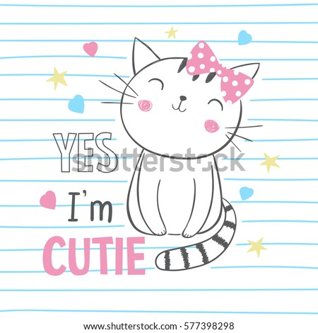 cute kitty tshirt graphic kids clothing stock vector 577398298 shutterstock. Black Bedroom Furniture Sets. Home Design Ideas