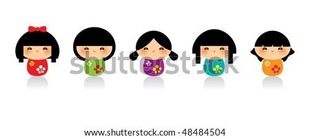 cute kokeshi doodles - stock vector