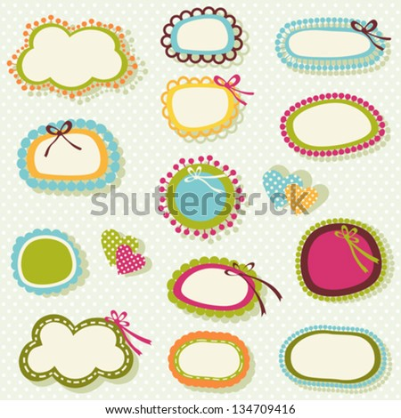 cute labels set in spring colors - stock vector