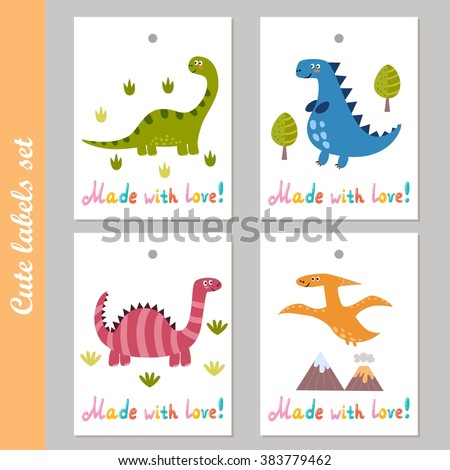 Cute labels set with funny dinosaurs. Made with love vector stickers - stock vector