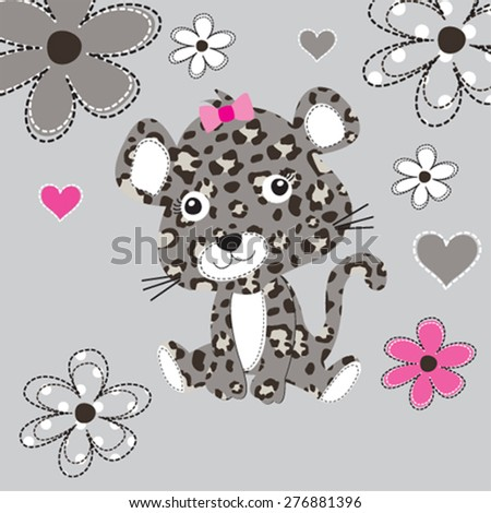cute leopard baby with flowers, T-shirt design vector illustration - stock vector