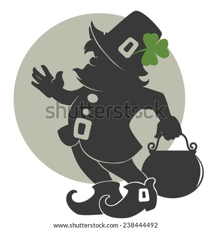 cute leprechaun silhouette for your St. Patrick's day  - stock vector