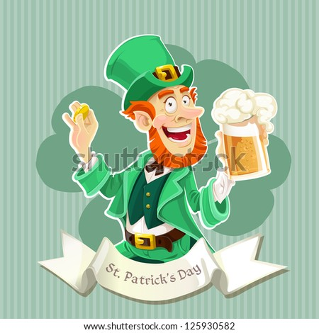 Cute Leprechaun with a beer - Poster - stock vector