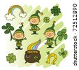 cute Leprechauns with clover - stock vector
