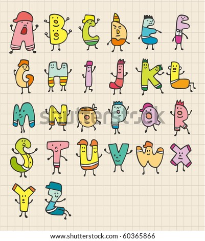 cute letters - stock vector