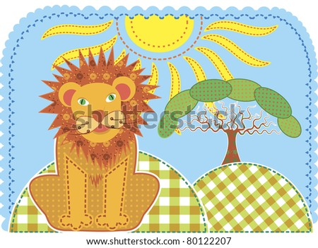 Cute lion - stock vector