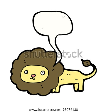 cute lion cartoon character with speech bubble