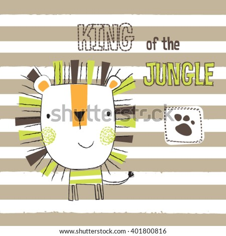 cute lion cartoon on striped background, king of the jungle, T-shirt design for kids vector illustration - stock vector