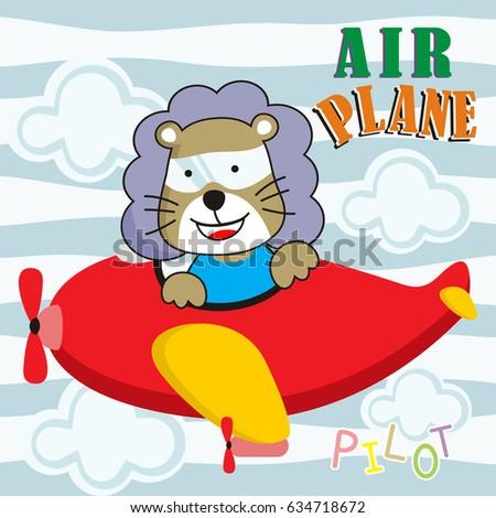 cute lion drives airplane as a pilot kids t shirt design