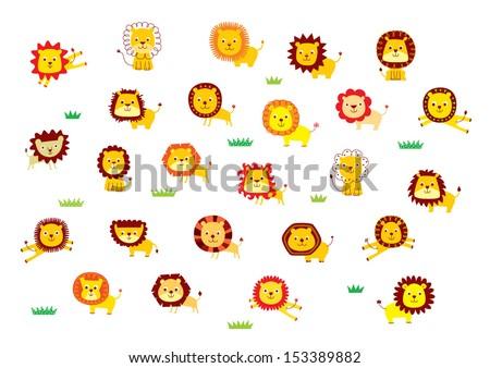 cute lion vector - stock vector