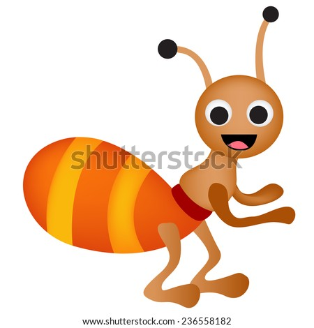 Cute little ant illustration isolated on white background