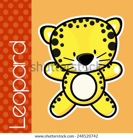 cute little baby leopard and text in flat design on solid color background with black and white outline for easy isolation - stock vector