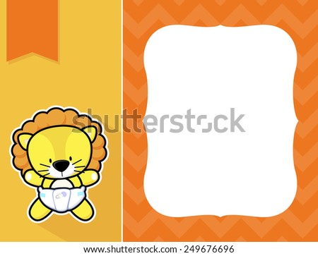 cute little baby lion with diaper, black and white outline like a sticker and blank space for your birth announcement text, picture or invitation with decorative frame - stock vector