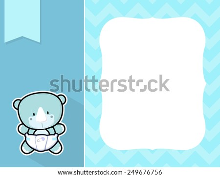 cute little baby rhino with diaper, black and white outline like a sticker and blank space for your birth announcement text, picture or invitation with decorative frame - stock vector