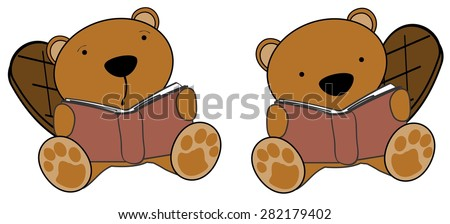 cute little beaver reading cartoon set in vector format very easy to edit - stock vector