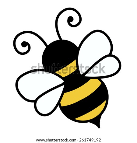 Cute little bee isolated on white background illustration - stock vector