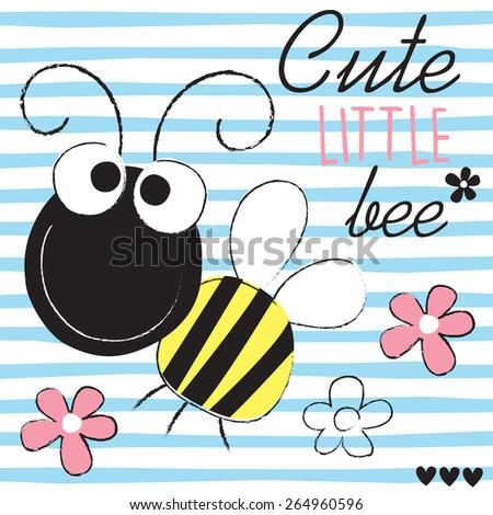 cute little bee vector illustration - stock vector