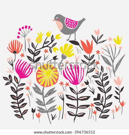 Cute Little Bird in Floral Garden. Print Design - stock vector