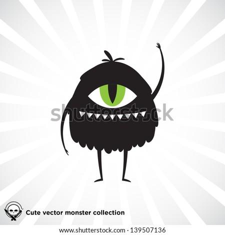 Cute little black monster for Halloween, scrapbooking etc. - stock vector