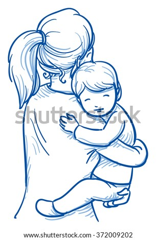 Cute little boy being carried by his mother. Hand drawn cartoon doodle vector illustration. - stock vector