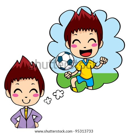 Cute little boy dreaming being a professional soccer team player - stock vector