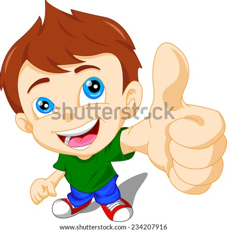 cute little boy giving you thumbs up - stock vector
