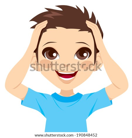 Cute little boy happy surprised expression with hands on head and big smile - stock vector