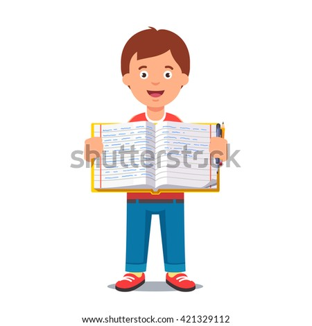 Cute little boy holding an open school workbook with handwriting. Flat style color modern vector illustration. - stock vector