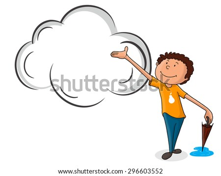Cute little boy holding closed umbrella and waiting for rain on shiny background for Monsoon Season concept. - stock vector