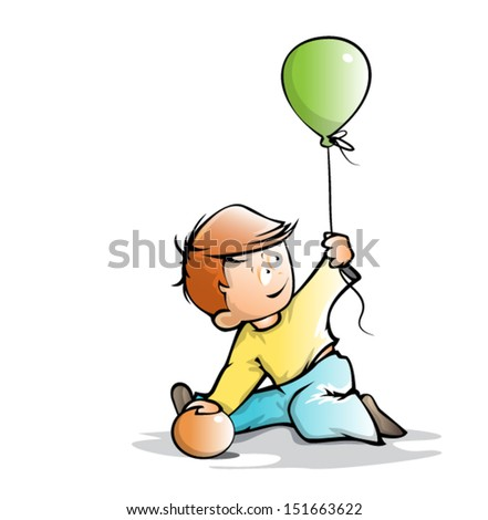 cute little boy playing with two balls, simple cartoon - stock vector