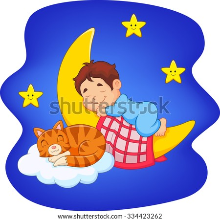 Cute little boy with cat sleeping on the moon  - stock vector