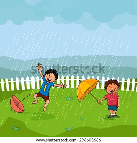 Cute little boys dancing and enjoying in rains on nature background, Beautiful illustration for Monsoon Season concept. - stock vector