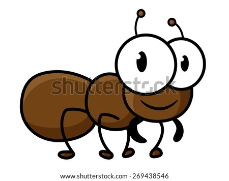 Cute little brown ant cartoon character with funny short legs and antennas isolated on white background for childish decor design - stock vector
